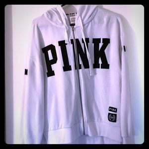 Vs PINK white hooded sweatshirt size small